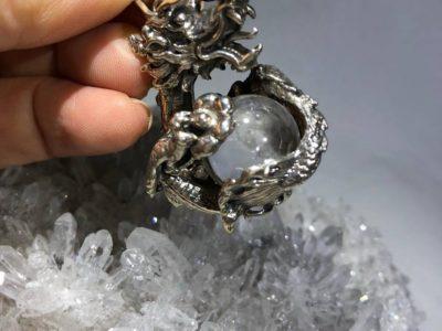 レムリアン水晶とバイキング古書デザインのシルバーペンダントトップ